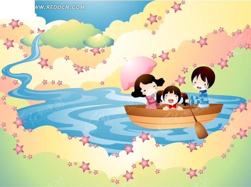 小船上可爱的小女孩和爸爸妈妈