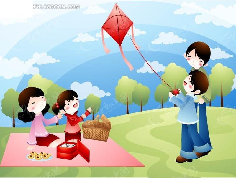野餐和放风筝的一家人AI素材免费下载 编号1429251 红动网图片