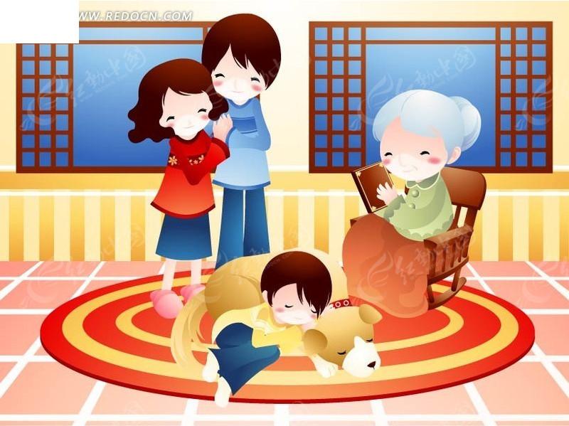 卡通快乐的一家人AI素材免费下载 编号1429245 红动网