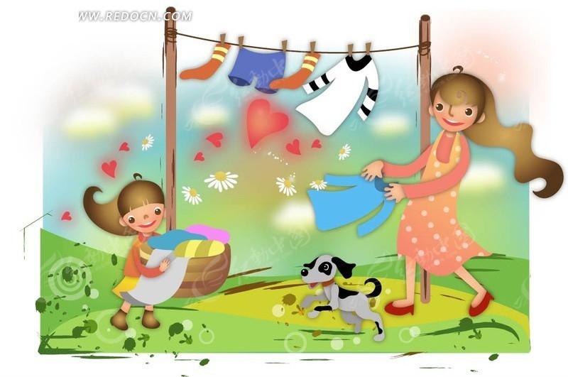 妈妈和小女孩在晒衣服矢量图ai免费下载