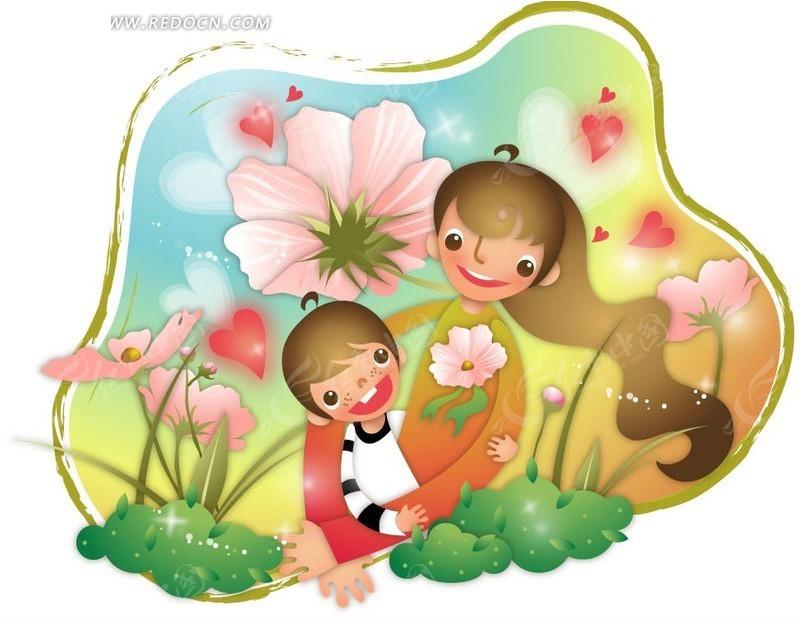 妈妈 小女孩 花朵 云朵 爱心 水彩 手绘 卡通人物 卡通人物图片 漫画
