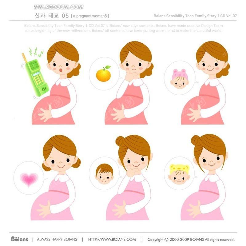 手抚肚子的孕妇和问号-卡通人物矢量图下载
