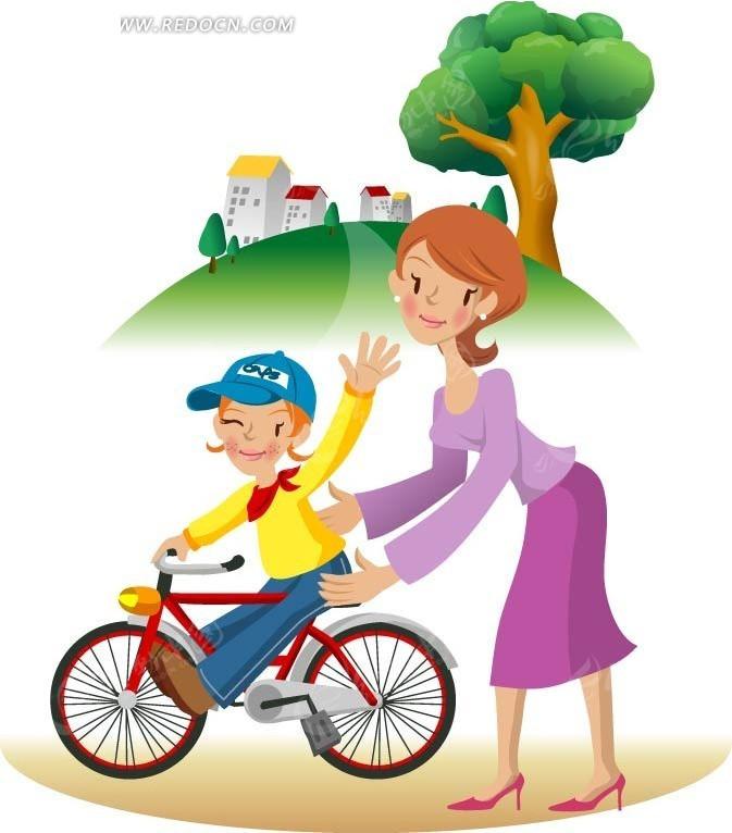 骑自行车 妈妈 女儿