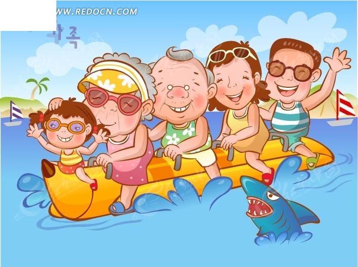 矢量素材 矢量人物 卡通形象 面带笑容的坐船的男子女子老人小孩  请