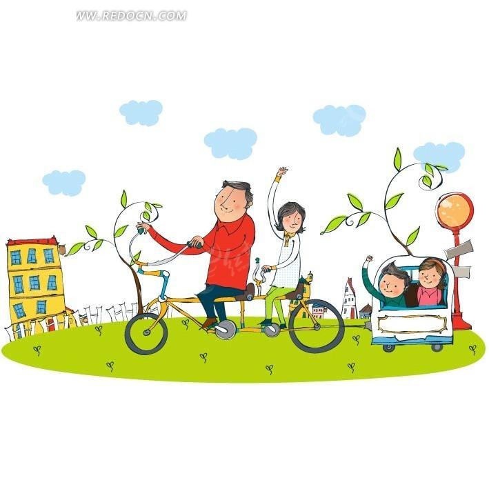 卡通类骑车父母送孩子上学矢量图
