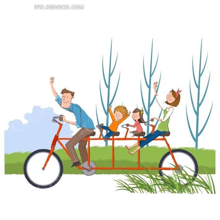 骑四人自行车很开心的一家人