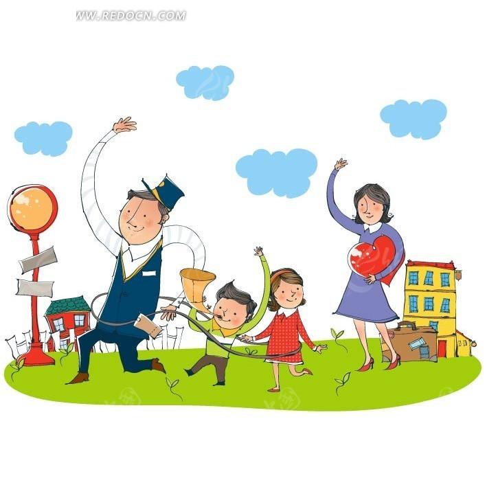 手绘卡通草地上跳舞的家庭