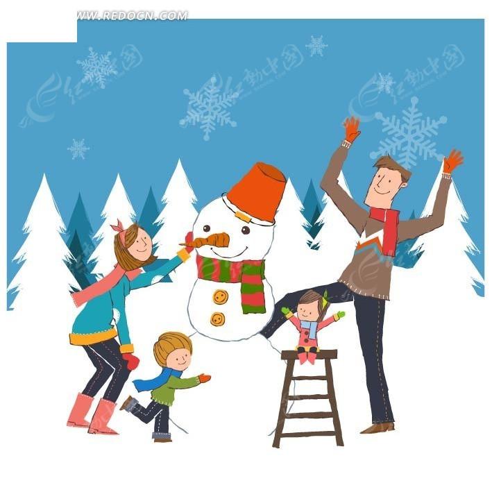 一家人在堆雪人