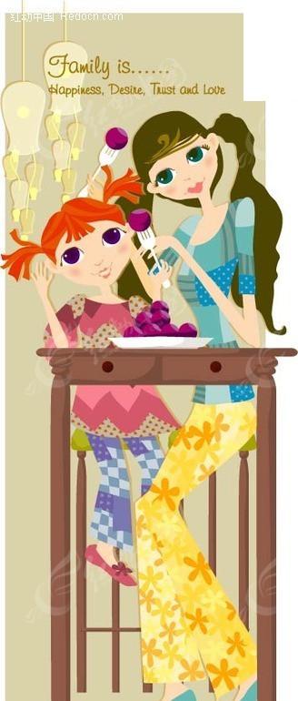 餐桌前的小女孩和睡衣矢量图(编号:1432179)_穿美女美女的图片