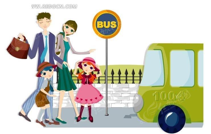 公交车站牌 卡通