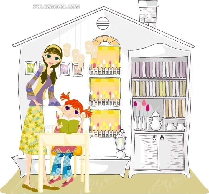 美女妈妈 小女孩 看书 漫画 卡通人物  矢量素材 卡通 手绘  卡通人物
