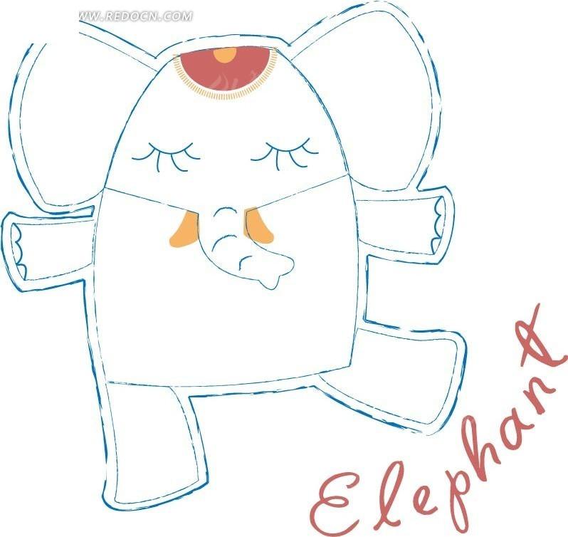 手绘 卡通 可爱 线条 跳舞 闭眼 大象 卡通人物 卡通人物图片 漫画