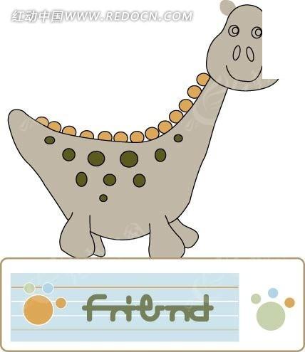 手绘卡通恐龙简笔画AI素材免费下载 编号1433311 红动网
