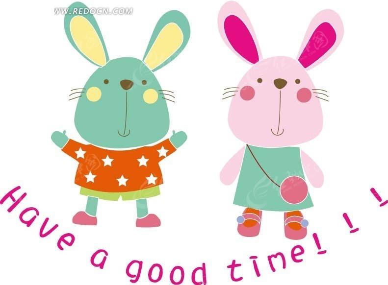 两只站立着的可爱小兔AI素材免费下载 编号1433301 红动网