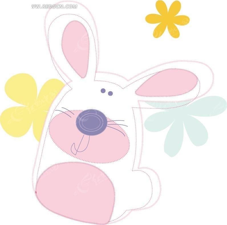 简单手绘卡通小兔子矢量素材