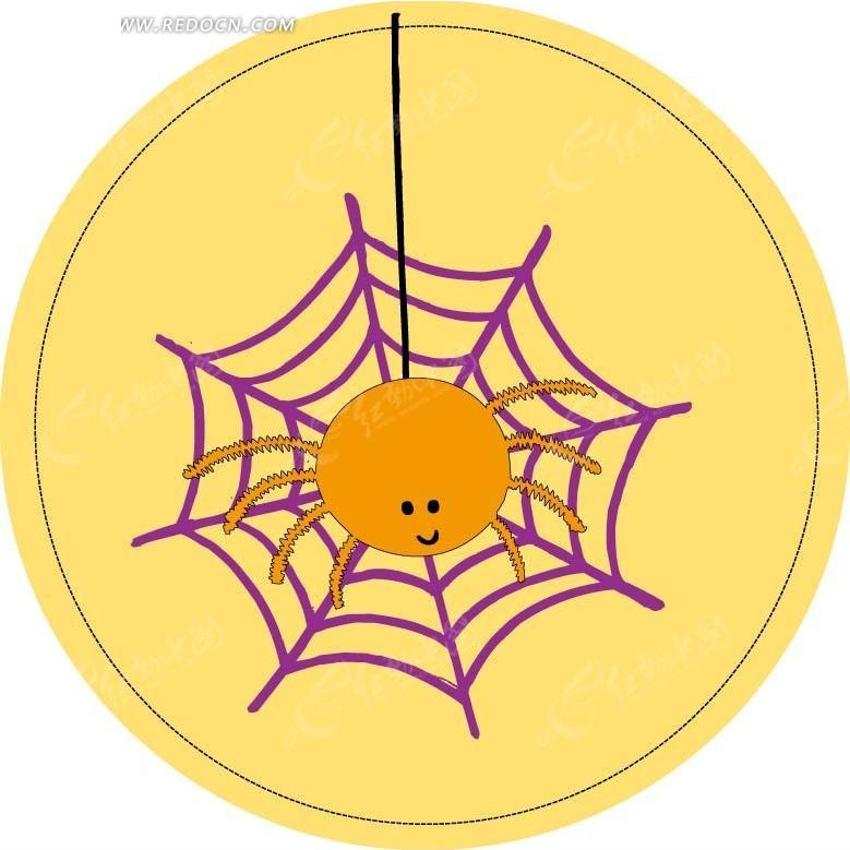 手绘蜘蛛网上的卡通小蜘蛛图片
