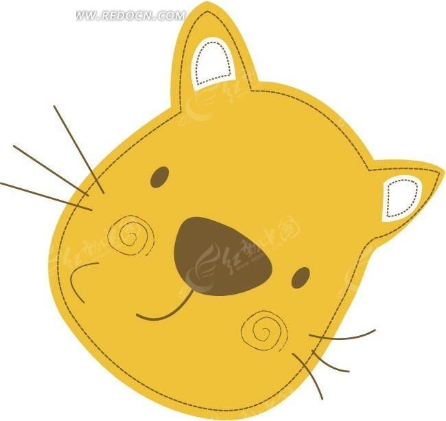 矢量卡通小猫头像插画图