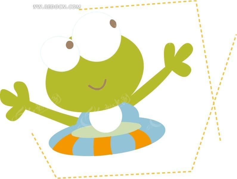 抓蜻蜓可爱的小青蛙_卡通形象_红动手机版