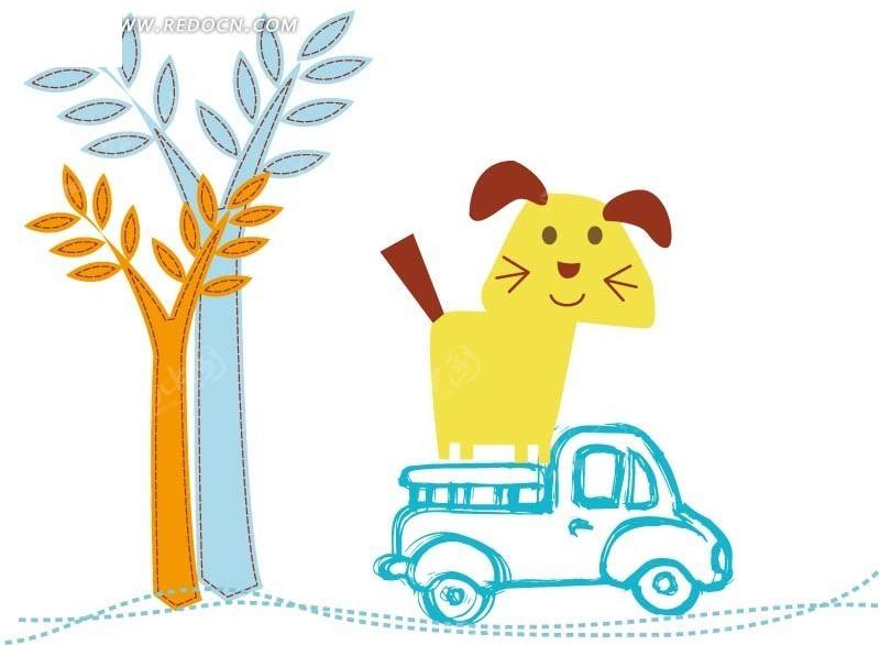 可爱小狗 虚线 树 手绘 卡通人物 卡通人物图片 漫画人物 人物素材