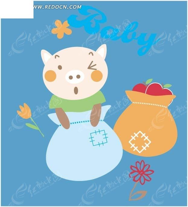 免费素材 矢量素材 矢量人物 卡通形象 手绘缝补布袋里小猪  请您分享