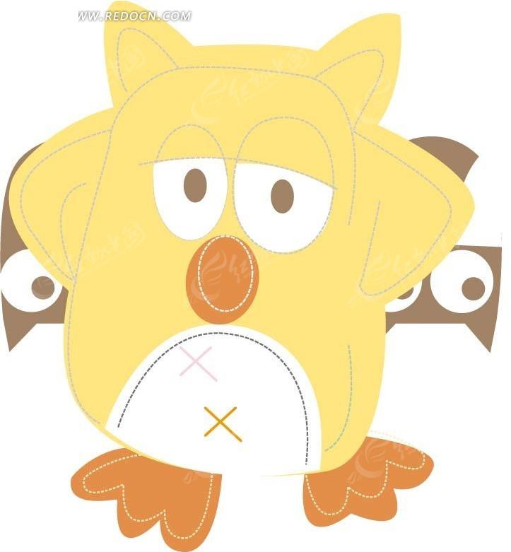 手绘黄色猫头鹰
