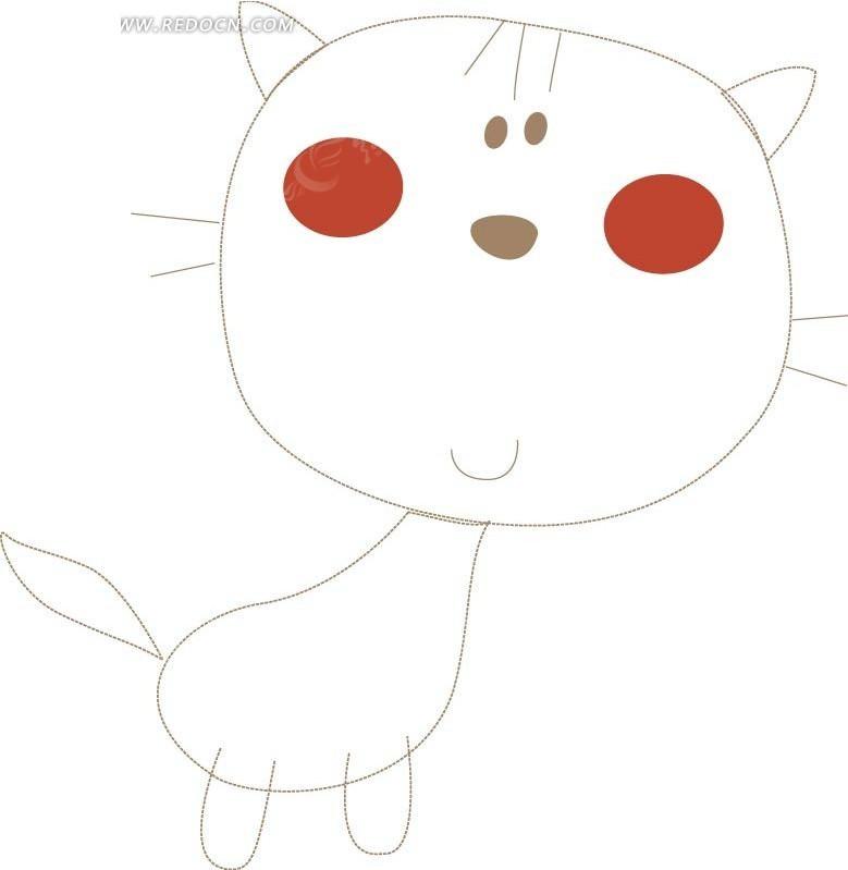 手绘线条微笑小猫
