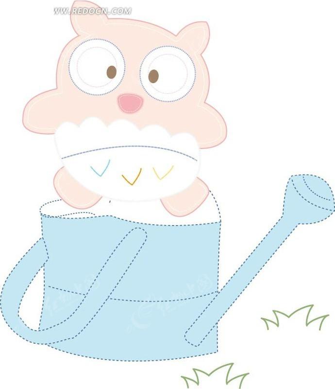 手绘 卡通 浇水壶 小猪