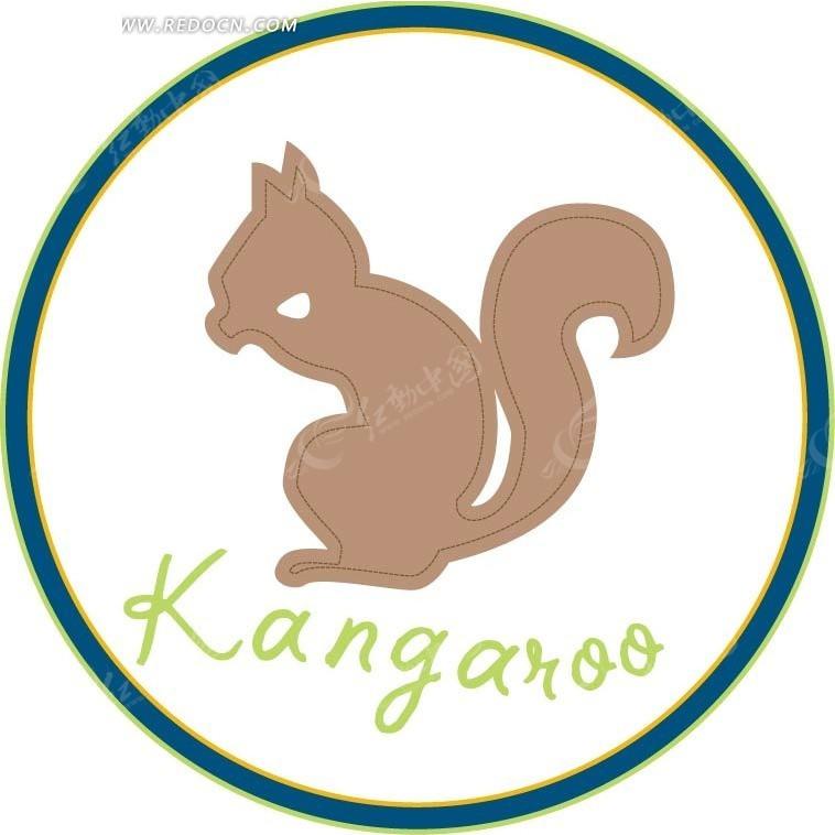 免费素材 矢量素材 矢量人物 卡通形象 手绘松鼠侧影徽章  请您分享