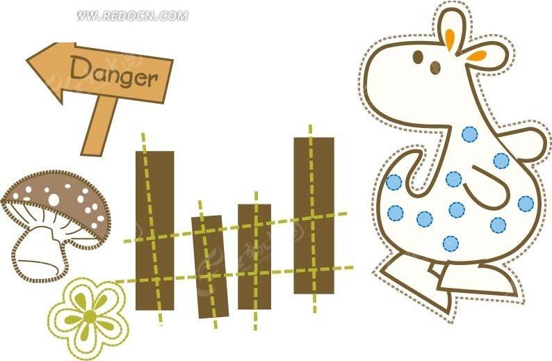 木栅栏前回望的斑点袋鼠矢量图_卡通形象