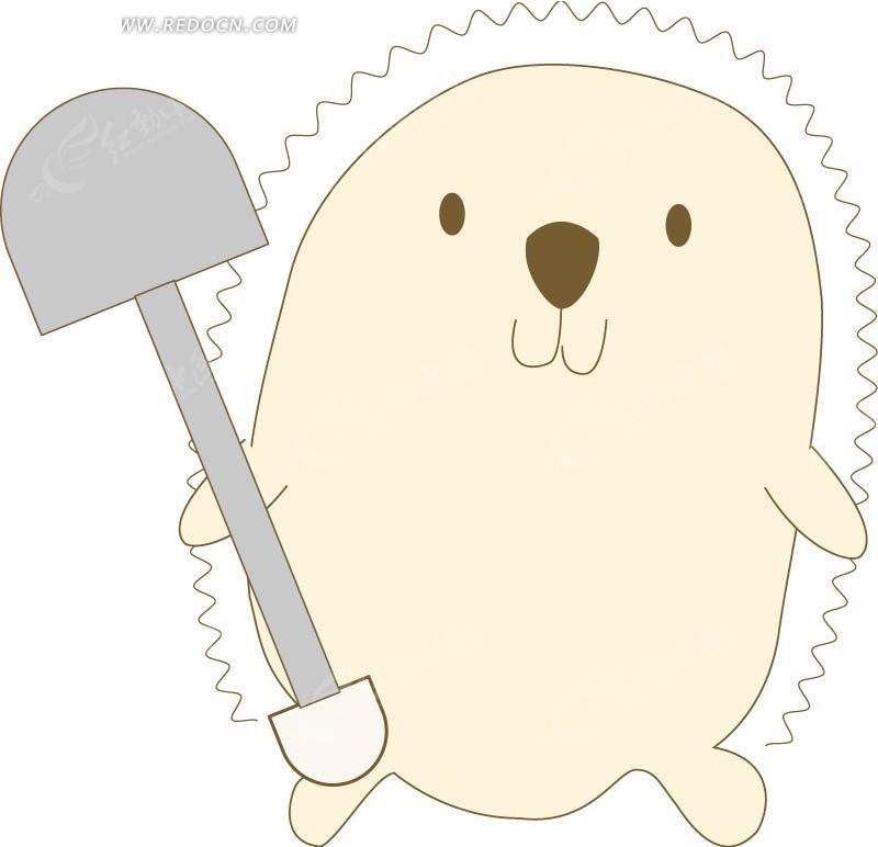 铲子 小刺猬 动物 手绘 卡通 插画 绘画 矢量素材 ai 卡通人物 卡通