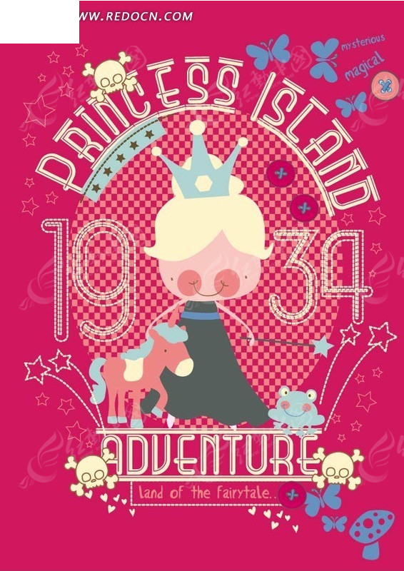 戴着王冠的小公主和独角兽图片