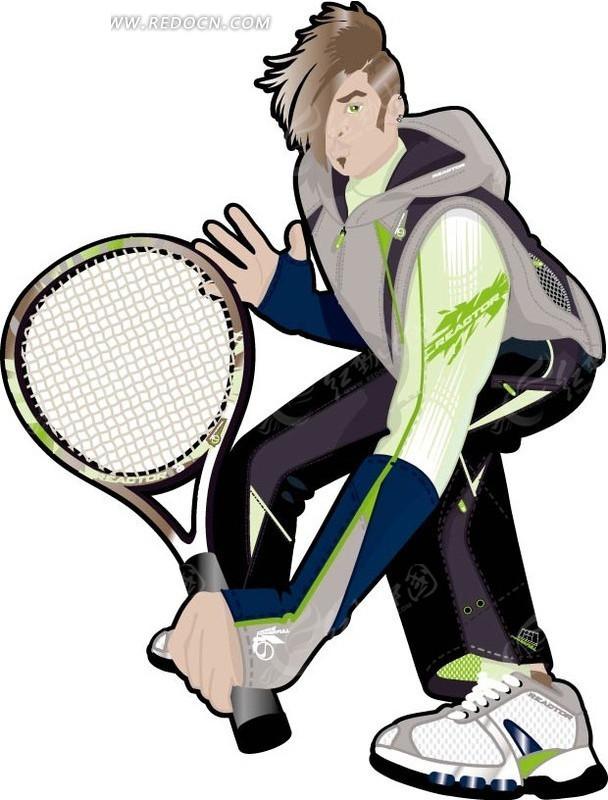 拿着网球拍的运动男人矢量图_卡通形象