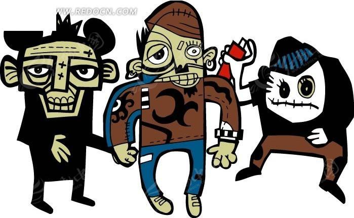 手绘卡通人物搞怪插画图形