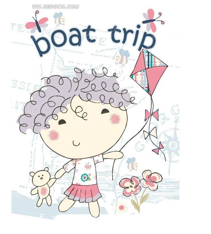 放风筝的小孩卡通画ai素材免费下载(编号1439615)_红