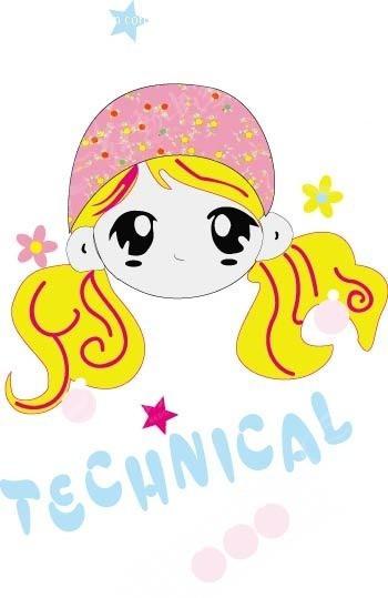 眼睛 卡通小女孩 花朵 星星 卡通 动漫 插画 手绘 矢量素材 卡通人物