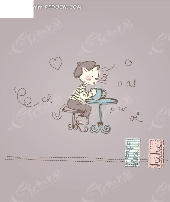小猫咪 喝茶 差桌椅 可爱 手绘 卡通 绘画 插画 矢量素材  卡通人物