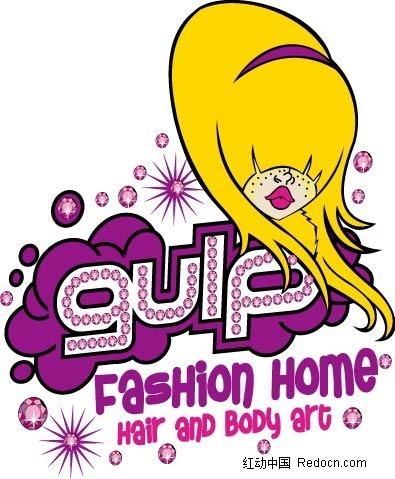 免费素材 矢量素材 矢量人物 卡通形象 黄发的齐刘海的女子和英文