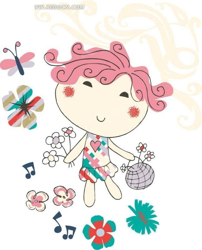 手绘开心采花的小女孩