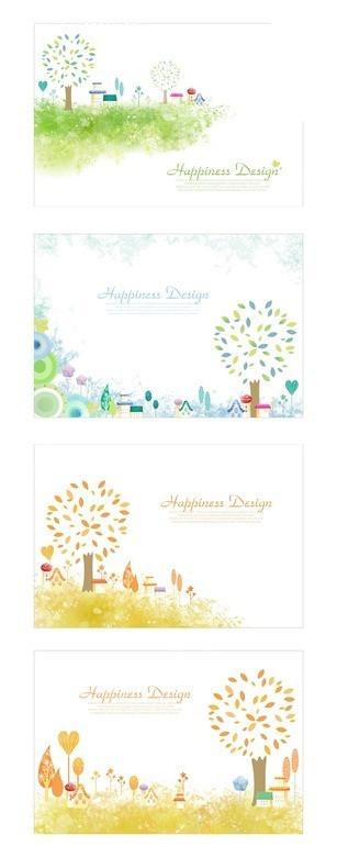 卡片设计 草地 大树 卡通 手绘 房屋 花纹 背景设计 精美背景 边框