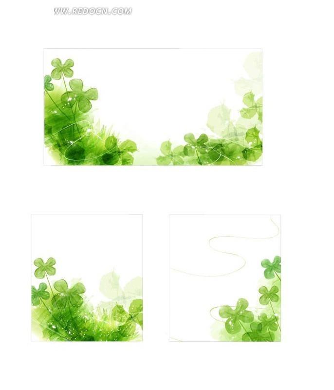 梦幻绿色四叶草背景矢量素材图片