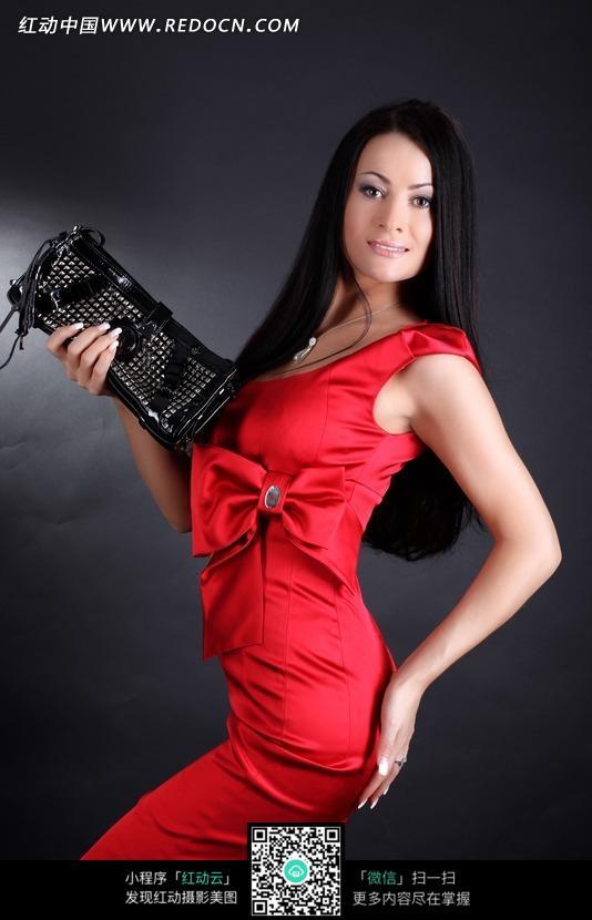 美丽性感红衣美女图片