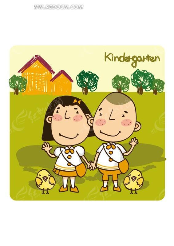 手牵手可爱的两个小朋友和小鸡