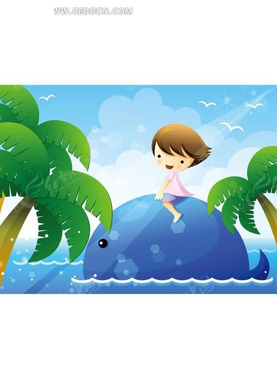 坐在鲸鱼背上可爱的小女孩矢量图_卡通形象