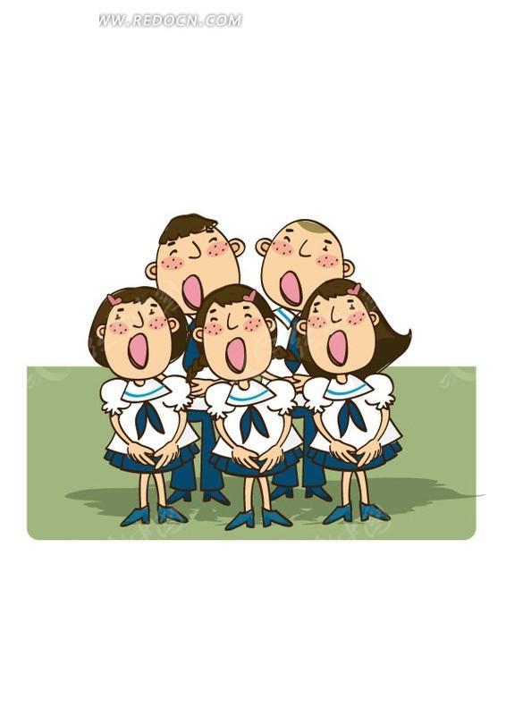 卡通唱歌的五个小朋友