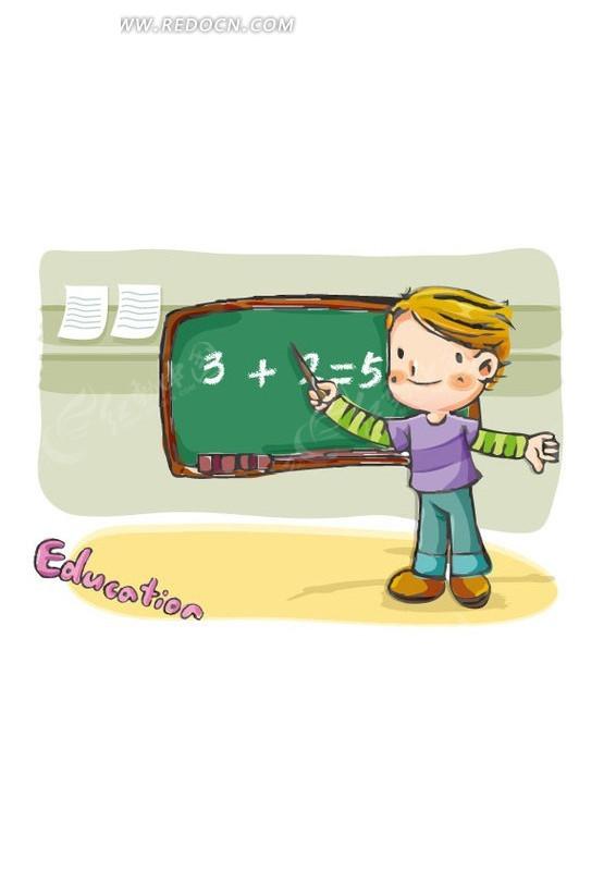 卡通教数学题的小男生eps免费下载_卡通形象素材