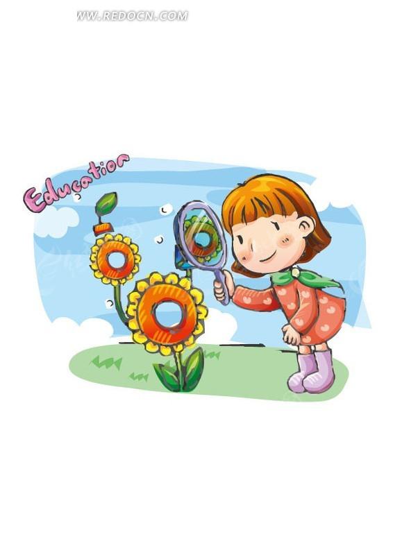 放大镜 小女孩 观察 向日葵 花朵 卡通人物 绘画 矢量素材 插画 卡通