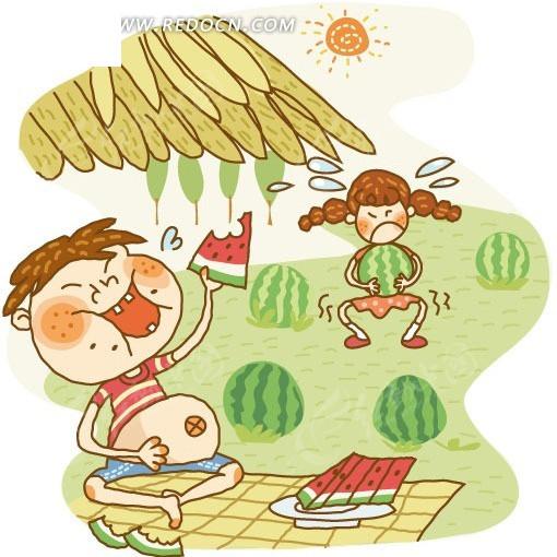 西瓜; 简笔画儿童插画-夏天