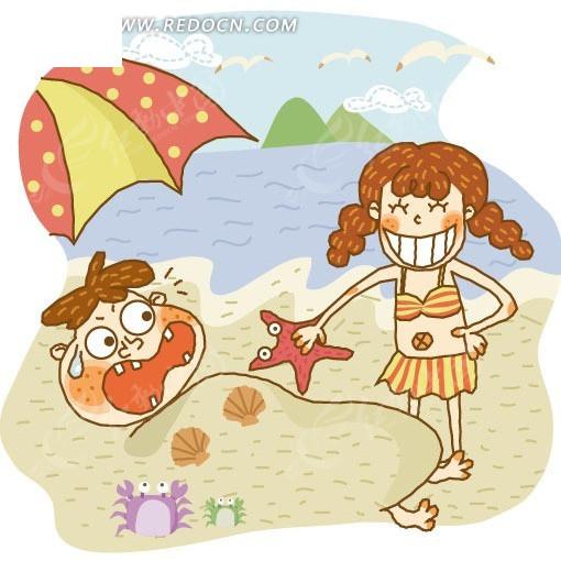 沙滩简笔画图片