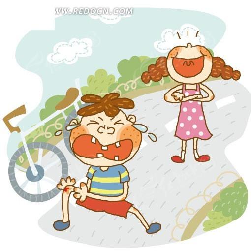 男生骑自行车带女生卡通图