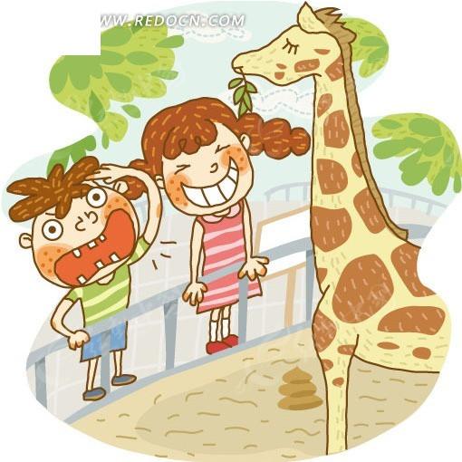 孩子, 在, the, 动物园, 看, a, 长颈鹿;; 手绘观赏长颈鹿的小朋友